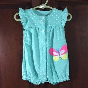 🏆Carter's Mint Polka-Dot Butterfly & Bows Romper